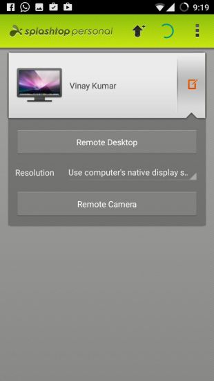 Remote Desktop in Splashtop Android App