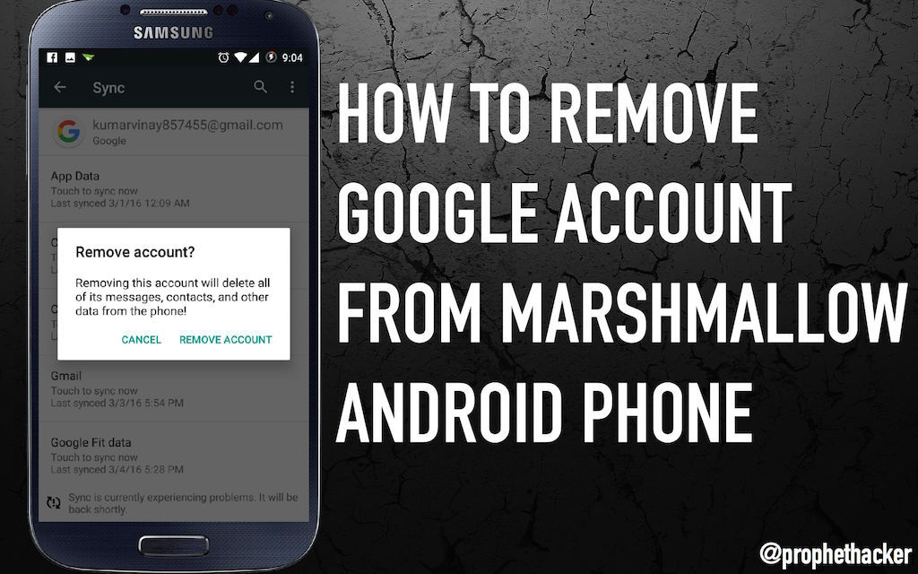 remove google account on android 5