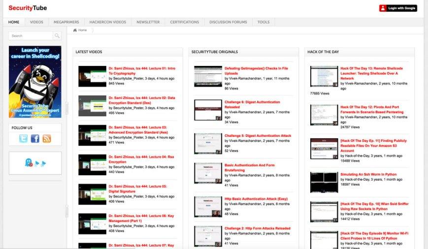 Securitytube Ethical Hacking videos by Professional