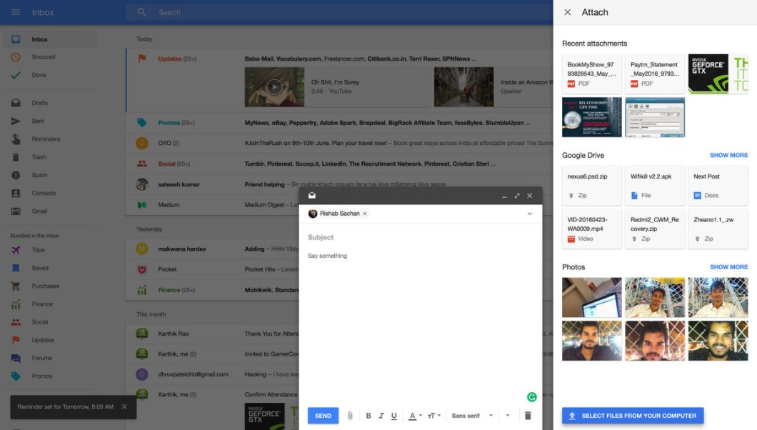 Compose Mail in a new Interface with lots of features