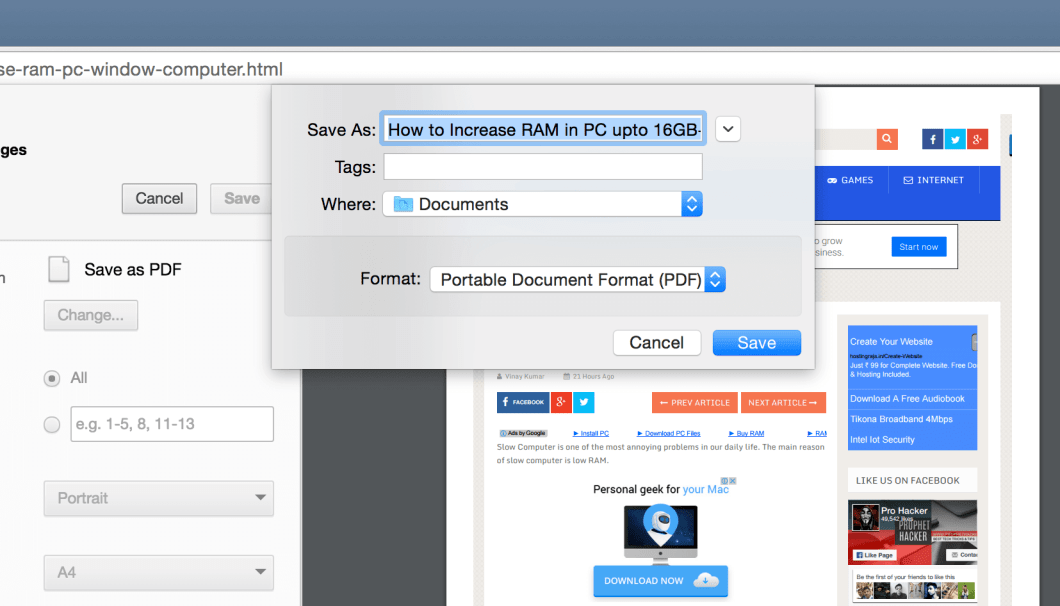 Convert Webpage into PDF from Chrome Browser