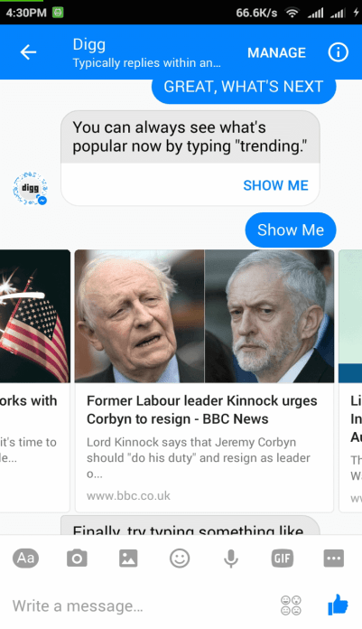 Read news from Digg Bot in Messenger app