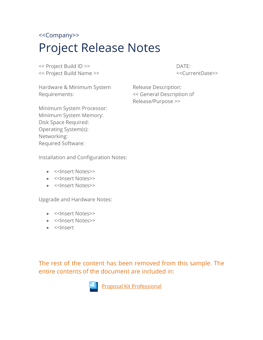 Project Release Notes Worksheet