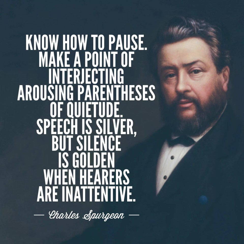 Charles Spurgeon on preaching and pauses