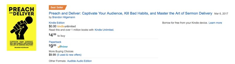 Amazon Best Seller Preach and Deliver