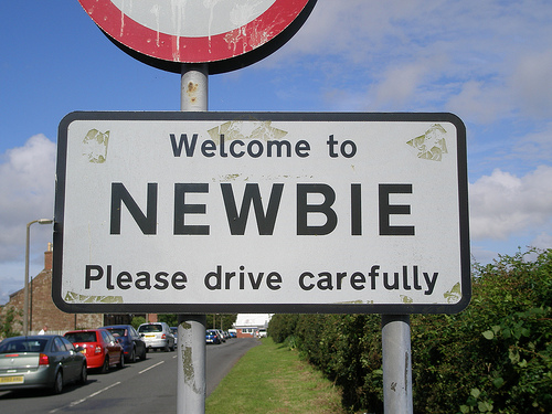 Spr00b - new to celiac disease, newly diagnosed - welcome to Newbie, please drive carefully street sign