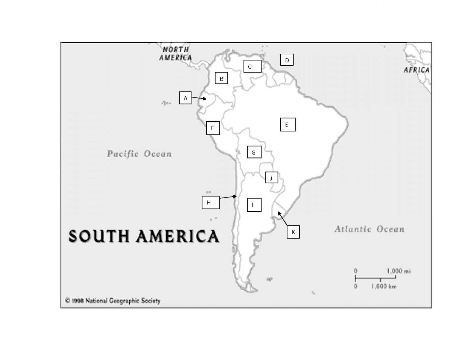 South America Practice Map Test