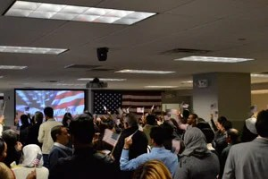 The 160 newly minted Americans at the swearing-in ceremony on Jan. 28. (Photo courtesy of Abigail Gellman)