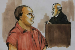 Courtroom drawing of David Coleman Headley, left. Dec. 9, 2009. (Verna Sadock/AP Photo)