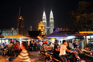 Kuala Lumpur with its landmark Patronas Twin Towers on March 27, 2010. (Saeed Khan/AFP/Getty Images)