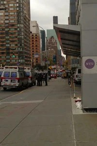 Ambulances line up outside of New York University Langone Medical Center on Oct. 28 for a pre-storm evacuation that never happened. (Sheri Fink)