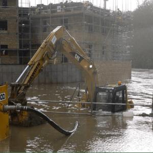 Sunken Cat digger on site