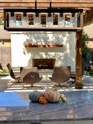 Outdoor fireplace designed by Proscapes