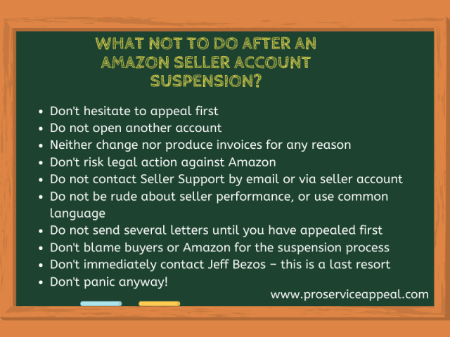 What not to Do After an Amazon Seller Account Suspension?