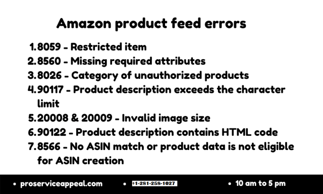 Amazon product feed errors