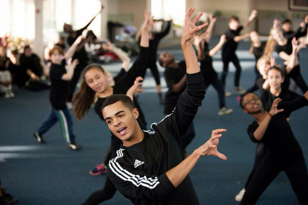 Image of a dance class with Layton Williams