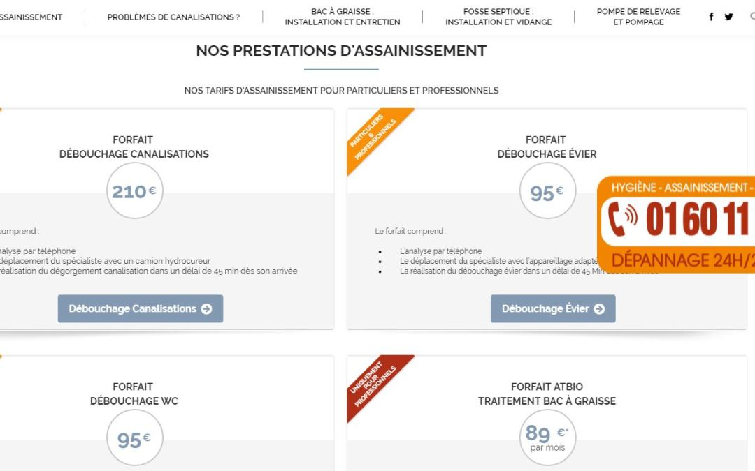Le site web de notre entreprise d'assainissement