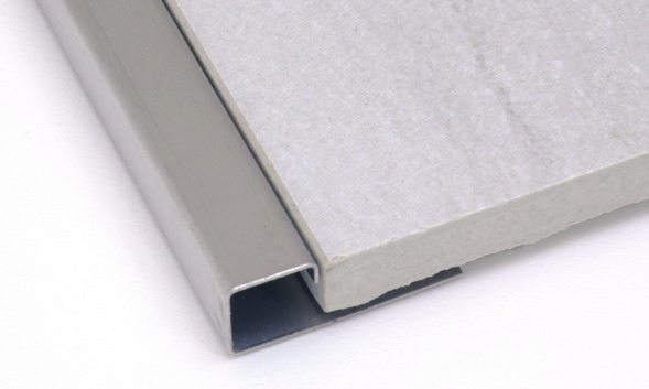square edge tile trim 1 2 inch in brushed stainless steel