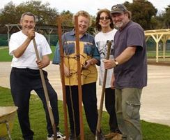 Mike, Valmai, Brett and Sue planting a tree (2004)