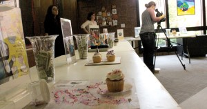 Photos by Kelcey Williams | The Cupcake-A-Book contest takes place in front of the library entrance in the X-wing.