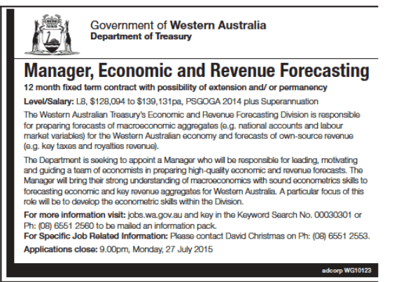 WA mnager economc and revenue forecasting