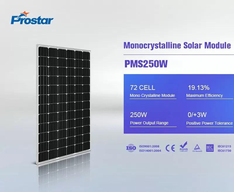 monocrystalline solar cells 24v solar panel 250w price