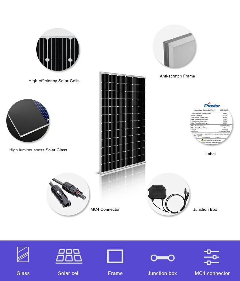 monocrystalline solar cells 24v solar panel 250w components