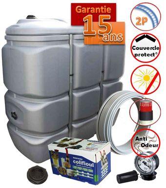 kit cuve fioul plastique accessoires tube raccords et vannerie installation exterieur et interieur double paroi integrale 1500 litres