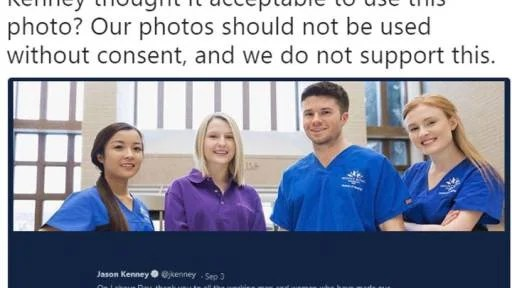 United Conservative Party Leader Jason Kenney is facing backlash over images he used in a Labour Day tweet meant to highlight the plight of unemployed Albertans.