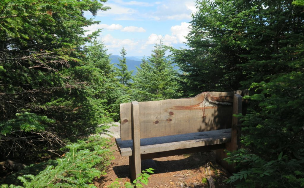 A bench without a view on the Sosman Trail.