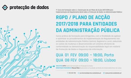 I Curso de Formação – «RGPD / Plano de Acção 2017/2018 para Entidades da Administração Pública»