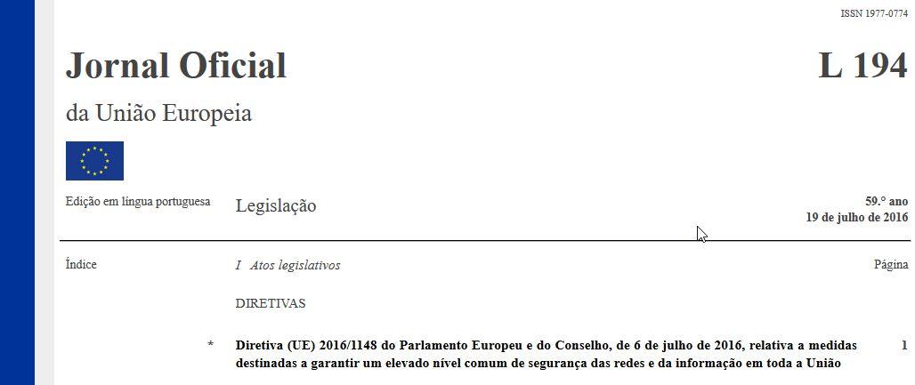 Directiva (UE) 2016/1148, de 6 de Julho de 2016
