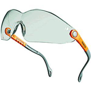 Óculos policarbonato monobloco incolor, extremidades tipo espátuladas, arco do nariz policarbonato integrado. Hastes de nylon inclináveis e ajustáveis. Protecções laterais. Anti-riscos e anti-embaçamento. Ref.: VULCAORIN, conforme à norma EN170 (UV).