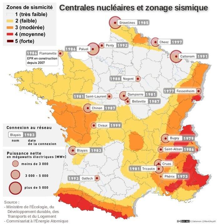 Carte des centrales nucléaires - PROTEGOR® sécurité personnelle, self défense & survie urbaine