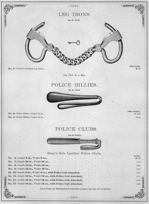 Police billies, les matraques flexibles dans la police américaine déjà en 1890