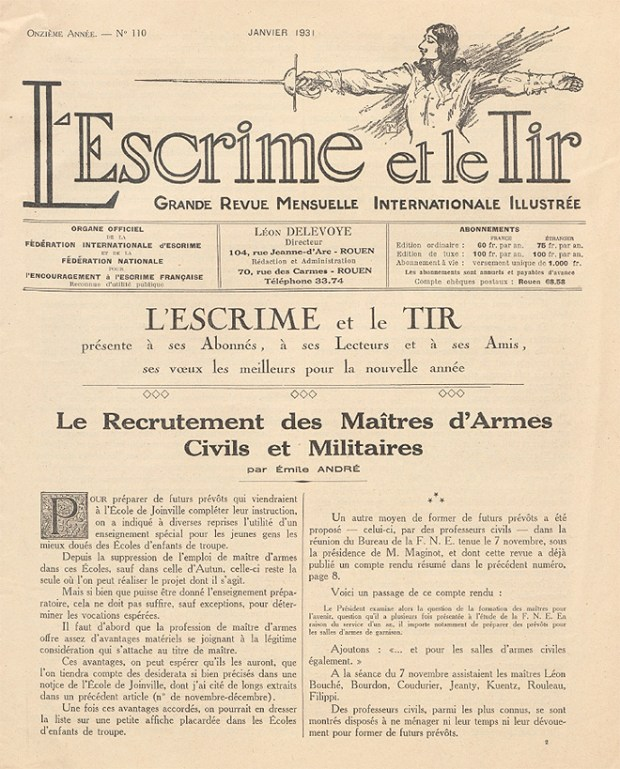 L'escrime et le tir, Janvier 1931