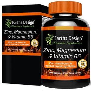 ZMA – Complément de Zinc et Magnésium Avec Vitamine B6 – Complément de Vitamines & Minéraux Pour le Sport – Pour Hommes et Femmes – 90 Capsules de Earths Design