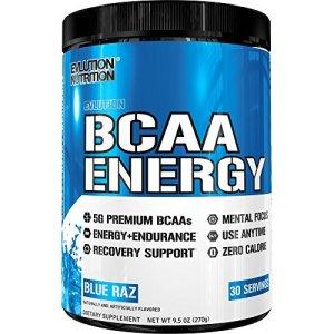 Evlution Nutrition BCAA Energy | Acide Aminé En Poudre Pour Augmenter La Récupération Et La Résistance Des Muscles | Emballage de 30 Doses | Goût Framboise Bleue