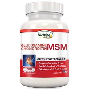 Complément de Glucosamine, Chondroïtine et MSM pour le Soutien des Articulations de Nutriza, 200 Capsules, Fabriqué aux États-Unis, Établissement certifié BPF, Permet la formation de cartilage, Favorise la santé des articulations