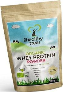 Protéines de Whey BIO en Poudre 600g (Non aromatisée): Riche en acides aminés et en BCAA – 80% de protéine whey bio pures provenant de vaches nourries à l'herbe par la TheHealthyTree Company