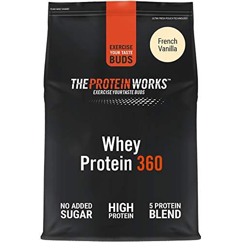 THE PROTEIN WORKS Protéine Whey 360 en poudre   Sans sucre ajouté et à faible teneur en matières grasses   Mélange de protéines   Vanille Française   600g