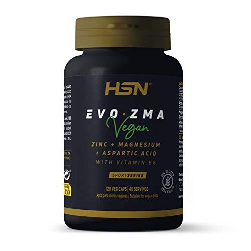 ZMA Zinc Magnésium Vitamine B6 de HSN | Evozma | Améliore l'Environnement Hormonal en Augmentant les Niveaux de Testostérone Naturelle – 120 gélules végétales
