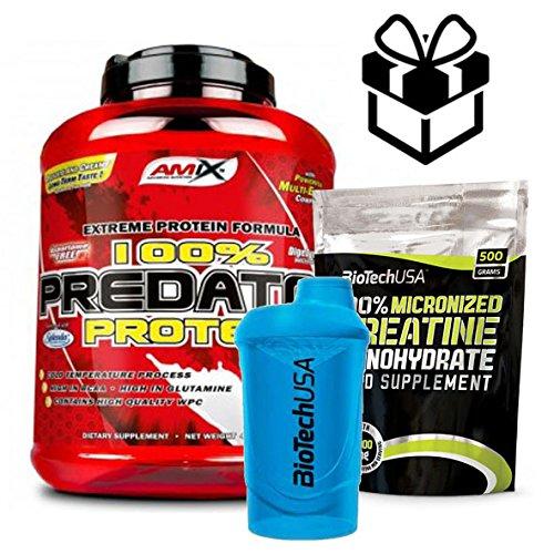 AMIX Predator Protein Fraise + créatine + mélangeur 2 kg