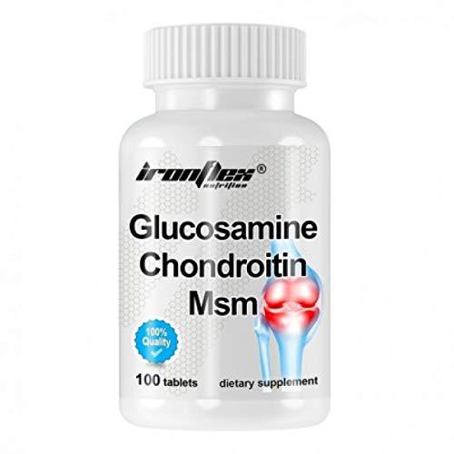 IronFlex Glucosamine Chondroitin MSM Paquet de 1 x 100 Comprimés – Sulfate de Glucosamine – MSM – Sulfate de Chondroïtine – Acide Hyaluronique – Complément Alimentaire