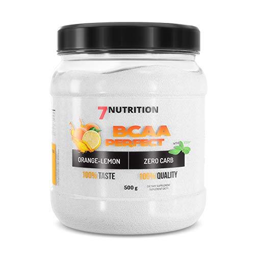 7Nutrition Acides aminés à chaîne ramifiée – BCAA – pack de 1 x 500g – Régénération musculaire – Leucine Isoleucine et Valine – Proportion 2:1:1 (Orange Lemon)