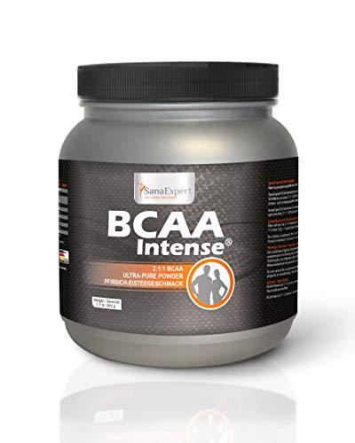 SanaExpert BCAA Intense   Boisson sportive   Acides aminés en poudre, avec L-leucine, L-valine et L-isoleucine Croissance musculaire  100 % naturel  Fabriqué en Allemagne  38 portions (500 g)