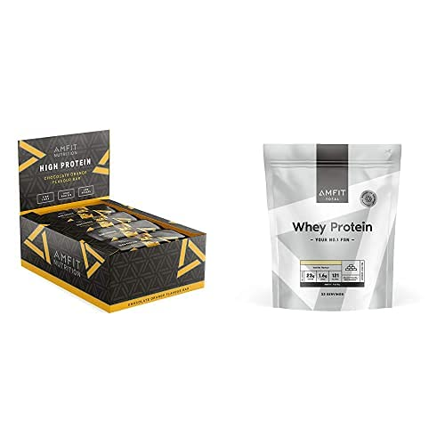 Marque Amazon – Amfit Nutrition Barre protéinée à faible teneur en sucre – chocolat à l'orange-Pack de 12(12x60g) & Marque Amazon – Amfit Nutrition Protéines en Poudre de Lactosérum(Whey)1kg – Vanille