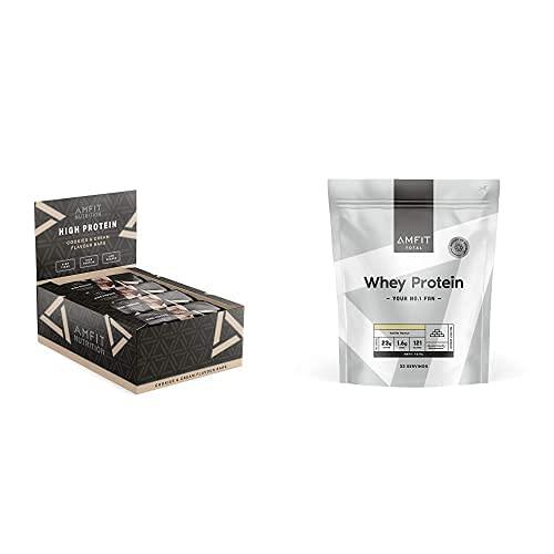 Marque Amazon – Amfit Nutrition Barre protéinée à faible teneur en sucre – Cookies&Cream – Pack de 12 (12x60g) & Marque Amazon – Amfit Nutrition Protéines en Poudre de Lactosérum(Whey)1kg – Vanille