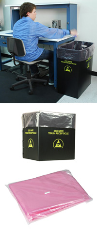 ESD Safe Trash Receptacle and Liner