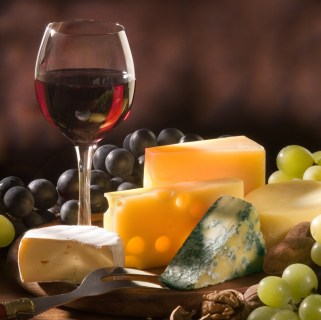 French wine, cheese and grapes